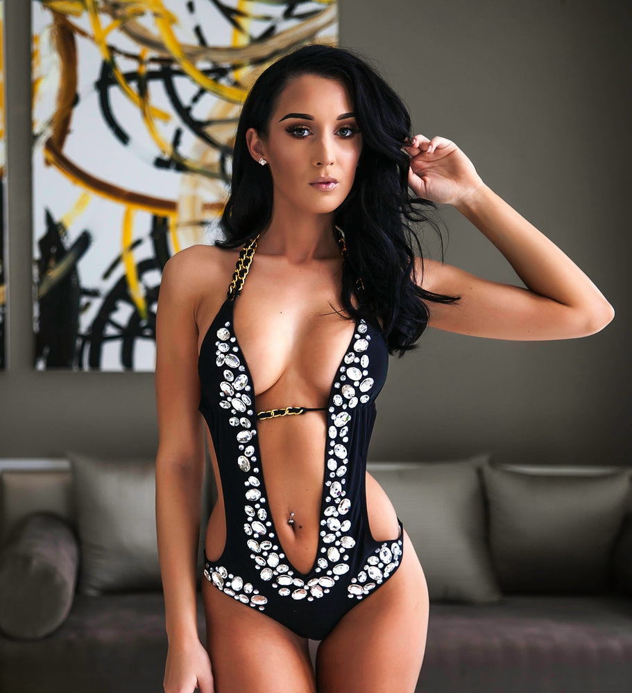 KAT SWIMSUIT BLACK WITH CRYSTALS