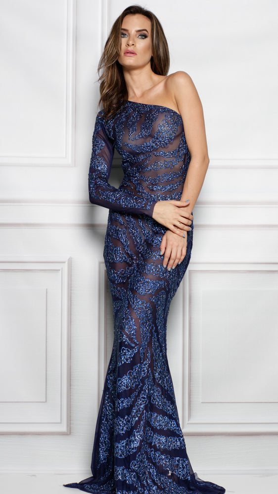 SYDEN GOWN IN NAVY WITH ROYAL