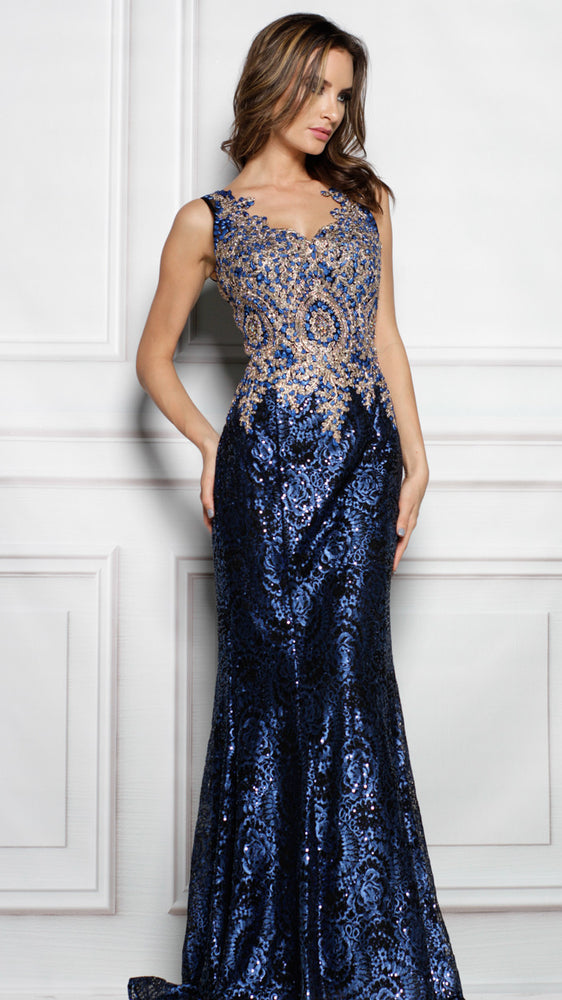 KIERA GOWN IN BLUE WITH BLACK/GOLD