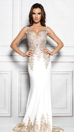 AURORA GOWN IN WHITW WITH GOLD - HOLT