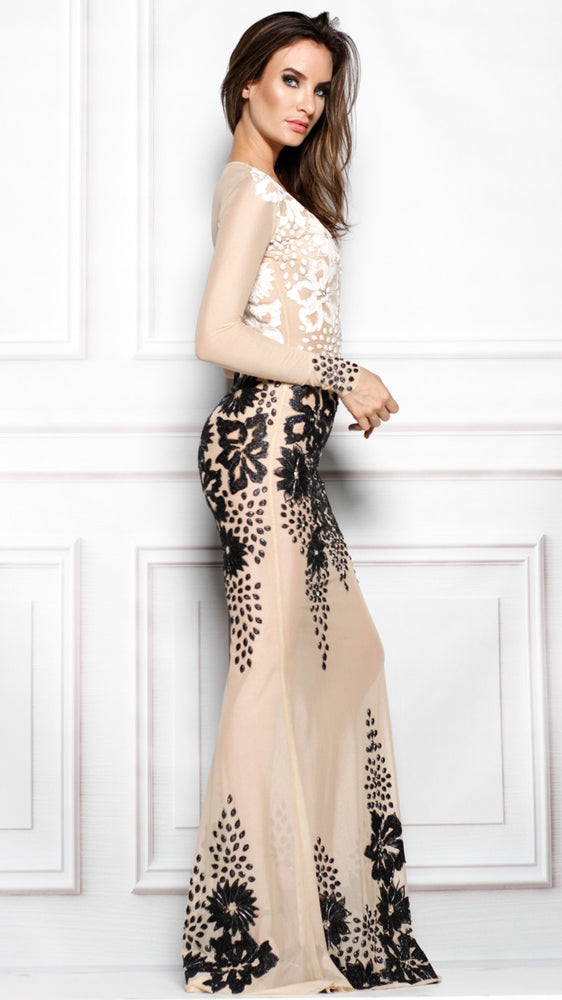 LACIE GOWN IN NUDE WITH BLACK/WHITE