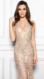 LARA GOWN IN NUDE WITH GOLD