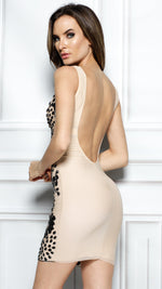 ORLYNA DRESS IN NUDE WITH BLACK