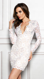 ELI DRESS IN WHITE WITH CRYSTAL