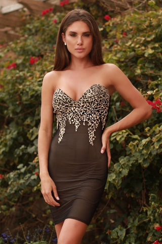 ANIKA DRESS IN BLACK WITH GOLD