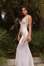 KATERINE GOWN IN WHITE WITH GOLD