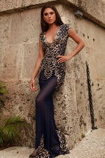 KYLA GOWN IN NAVY WITH GOLD
