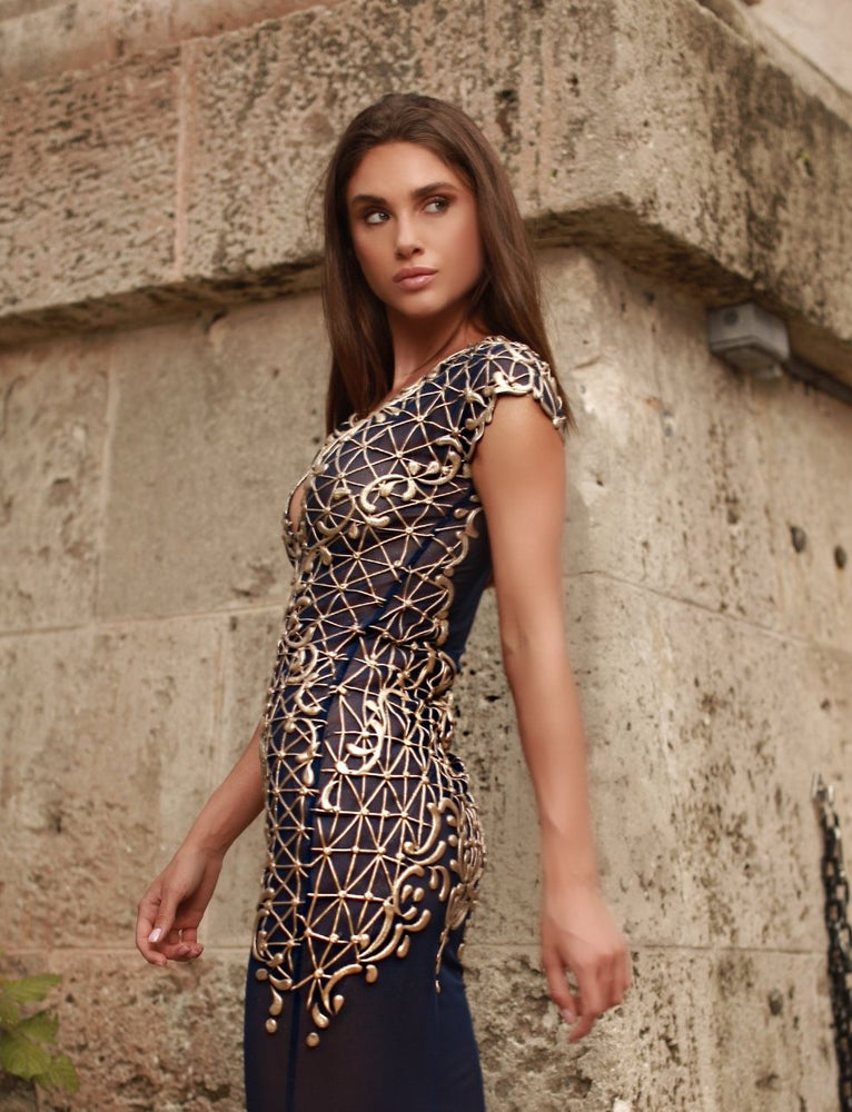 KYLA DRESS IN NAVY WITH GOLD