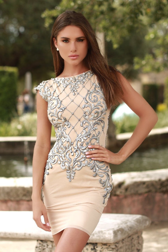 MASHALA DRESS IN BEIGE WITH SILVER