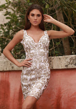 PLAYA LACE DRESS IN WHITE WITH GOLD