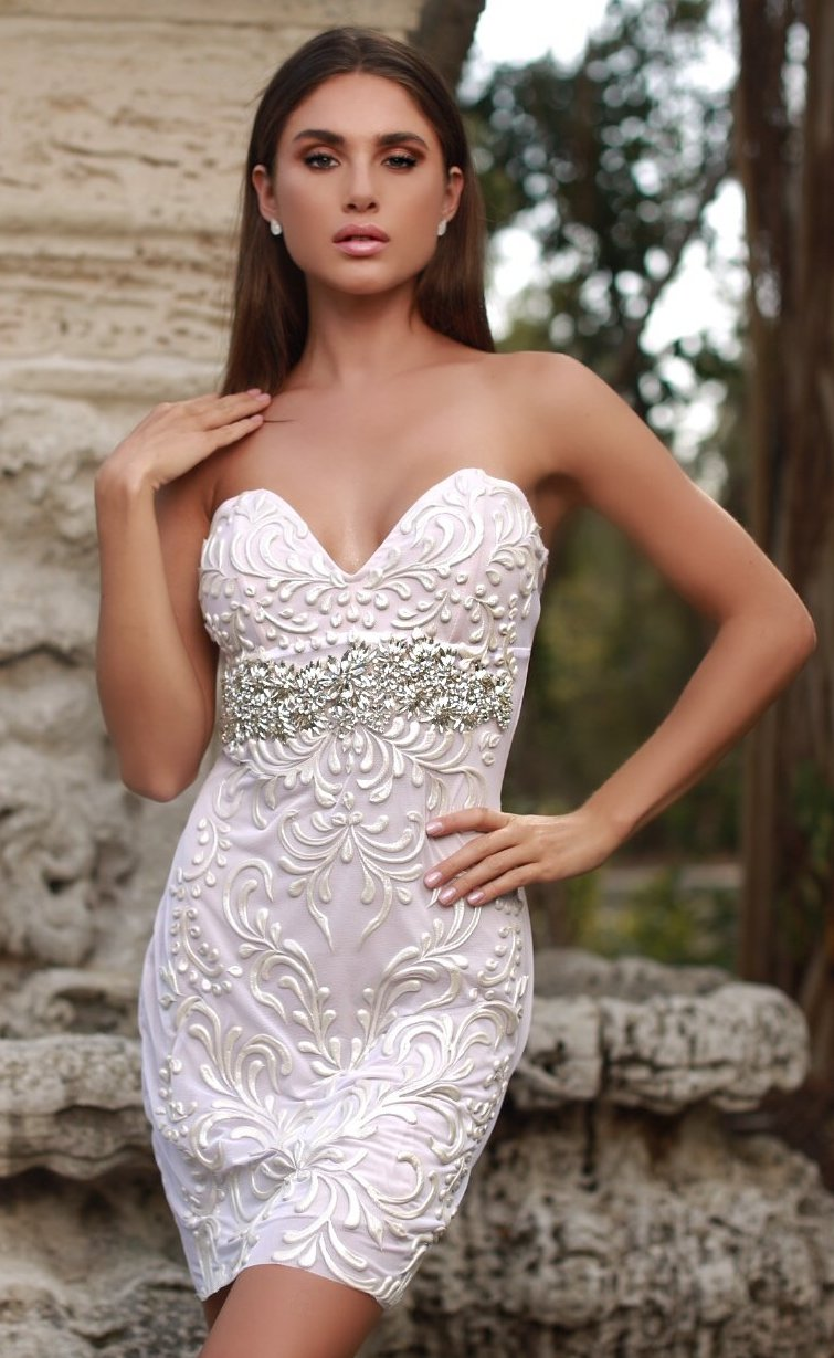 ANALEE DRESS IN WHITE WITH CRYSTALS