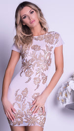 LUCIA DRESS IN WHITE WITH GOLD