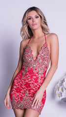 CELESTE LACE DRESS RED - GOLD OR SILVER