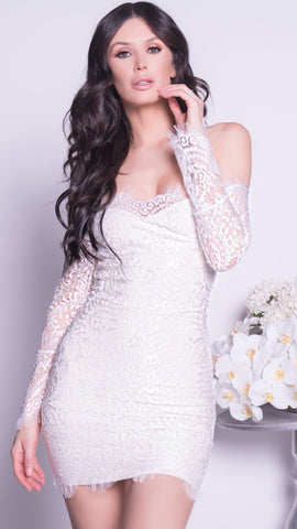 MOLINE BANDAGE LACE DRESS IN WHITE