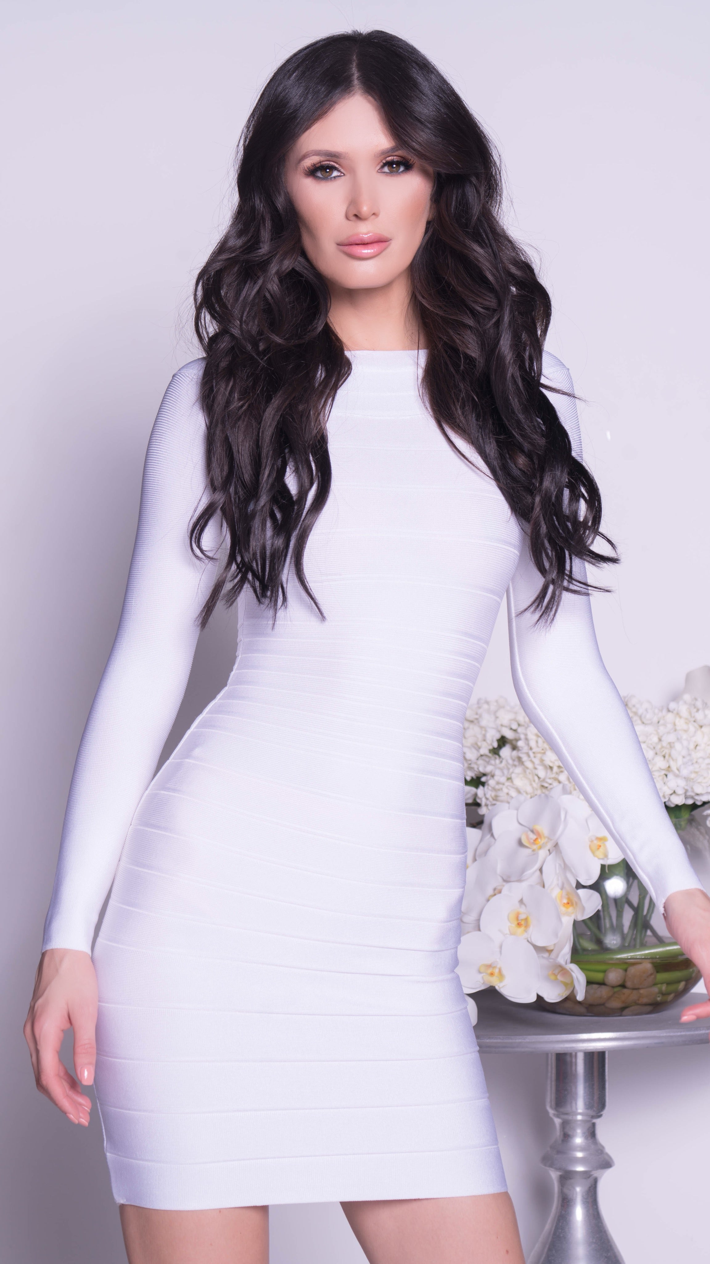 JOANNE BANDAGE DRESS IN WHITE