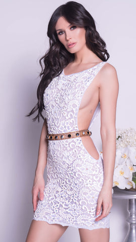 BEREZA CUTOUT LACE DRESS IN WHITE - 12 COLORS