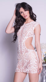 MAPINSON DRESS IN NUDE WITH WHITE