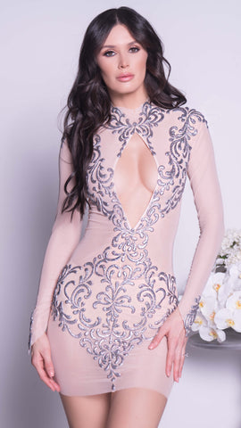 YULIA LACE DRESS IN WHITE WITH SILVER