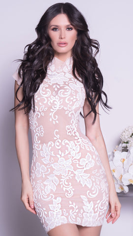 PHILOSA DRESS IN NUDE WITH WHITE