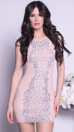 AFRIDA DRESS IN NUDE WITH SILVER