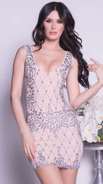 BIELLE DRESS IN NUDE WITH SILVER