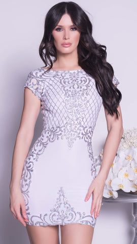 ZOLAI DRESS IN WHITE WITH SILVER
