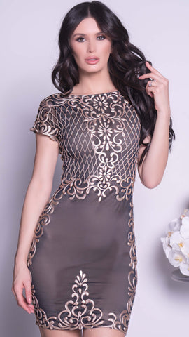 ZOLAI DRESS IN BLACK WITH GOLD