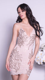 SEVEN LACE DRESS IN NUDE WITH GOLD