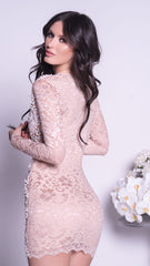 ARCADIA LACE DRESS IN NUDE WITH WHITE