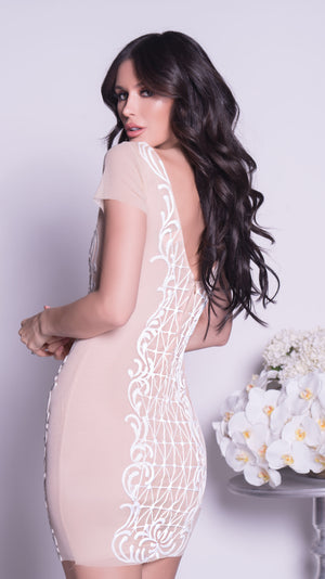 JAMESY DRESS IN NUDE WITH WHITE