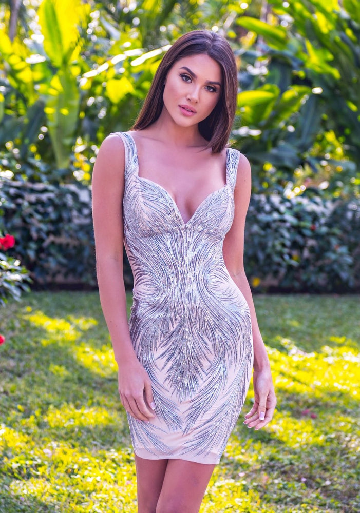 BOSANA DRESS IN NUDE WITH SILVER - MORE COLORS
