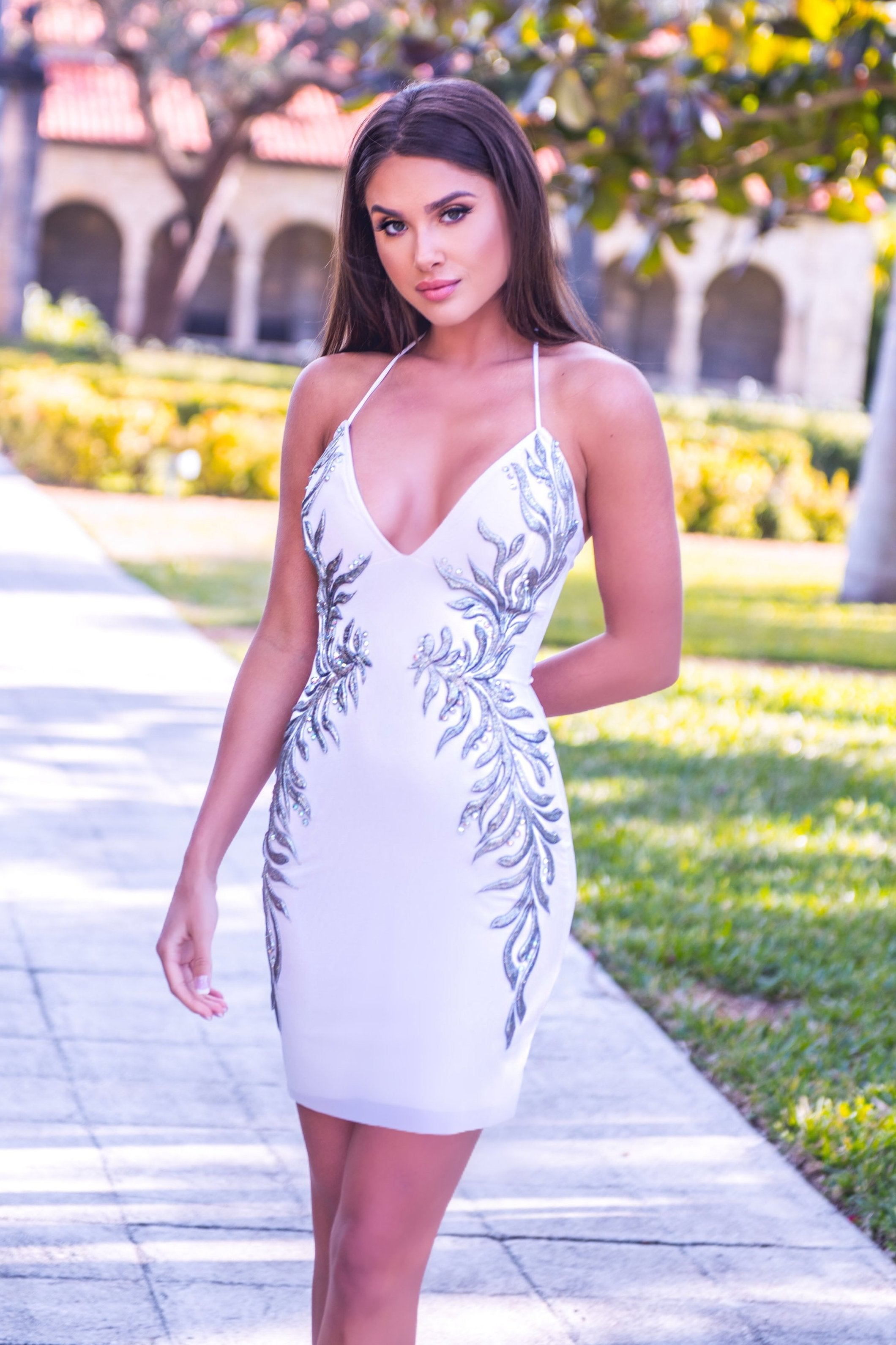 SALY DRESS IN WHITE WITH SILVER