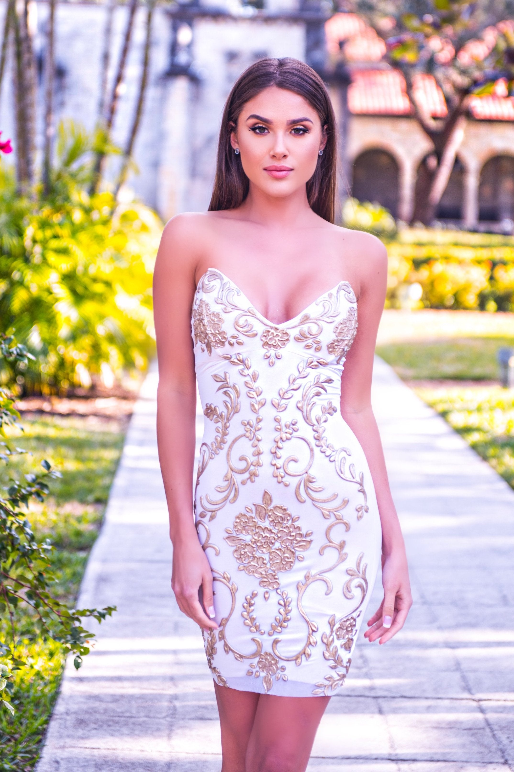MOLINA DRESS IN WHITE WITH GOLD