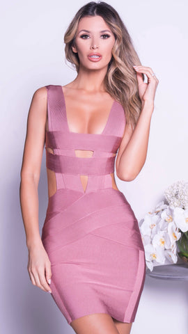 OLAYA BANDAGE DRESS IN ROSE GOLD