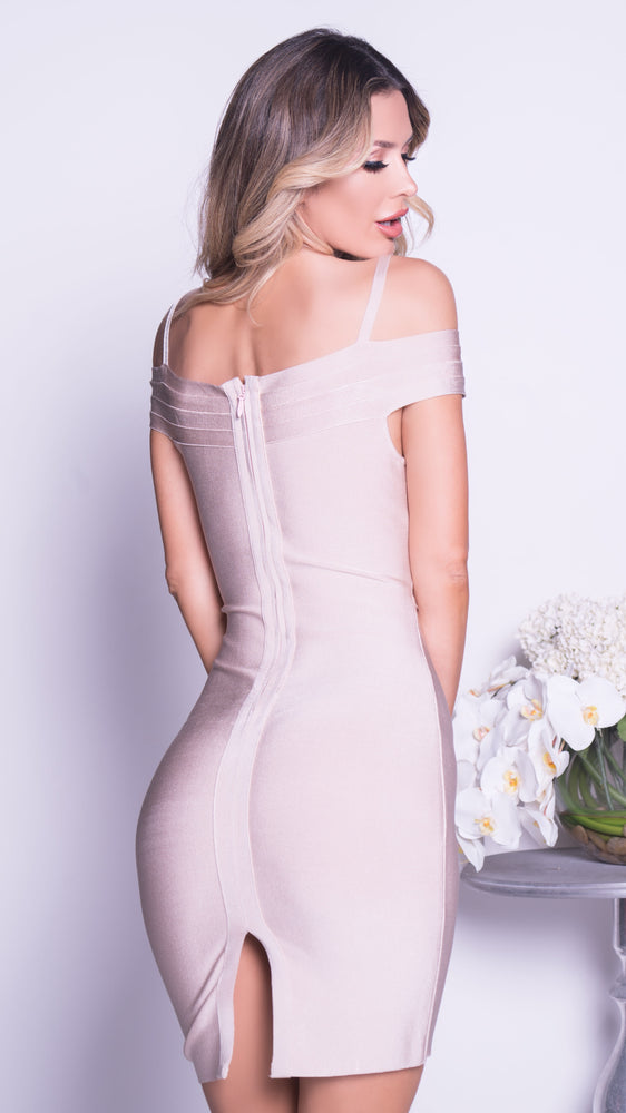 BENITA BANDAGE DRESS IN BEIGE