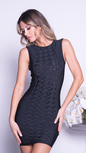 BOTTEGA BANDAGE DRESS IN BLACK