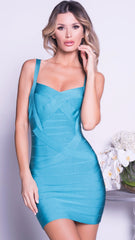MARIELLE BANDAGE DRESS IN TURQUOISE