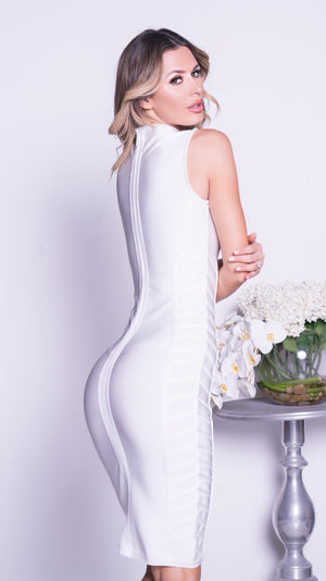 TRUDY BANDAGE DRESS IN WHITE