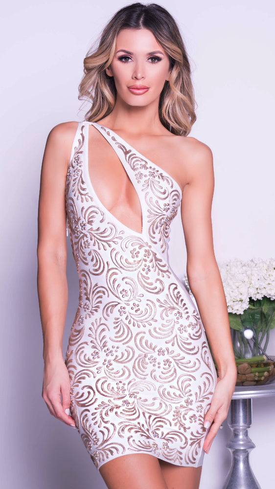 GADORE BANDAGE DRESS IN WHITE WITH GOLD