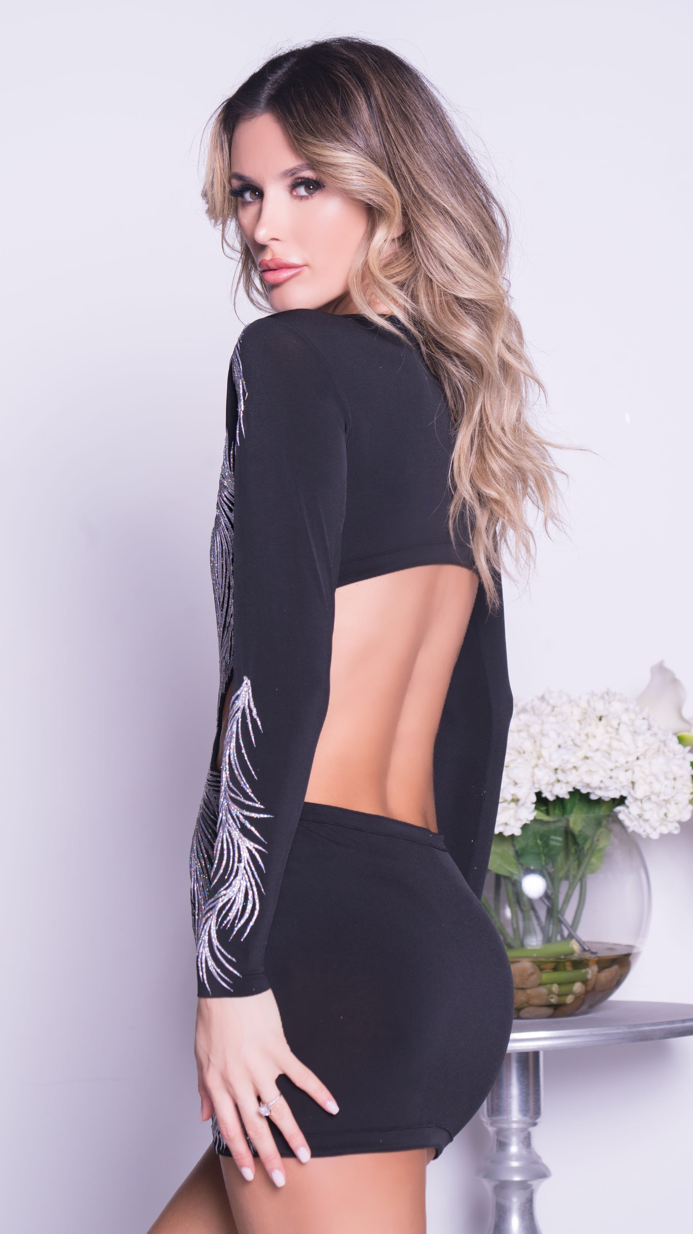 OSNARE DRESS IN BLACK WITH SILVER