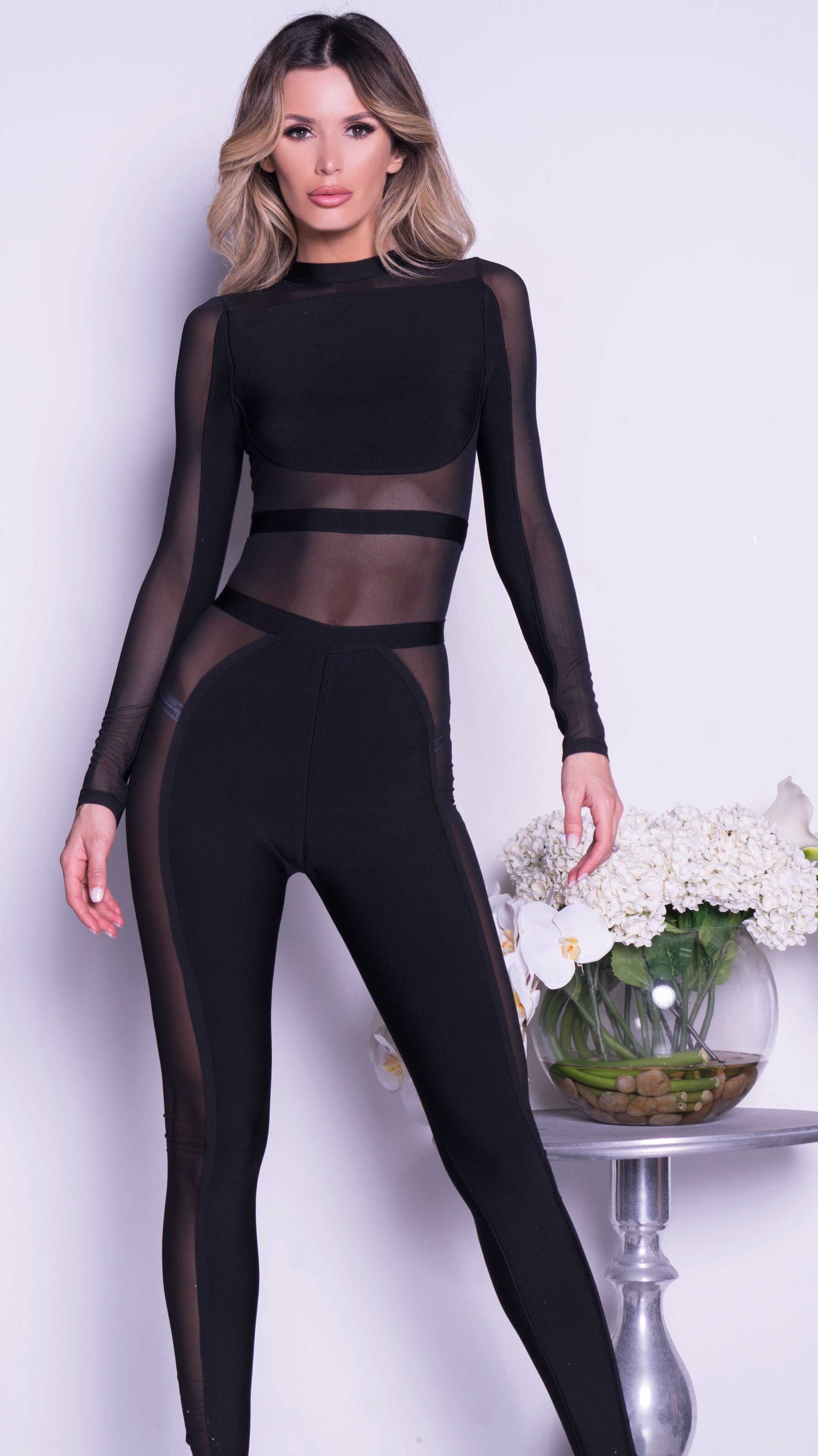 CATTY BANDAGE JUMPSUIT IN BLACK