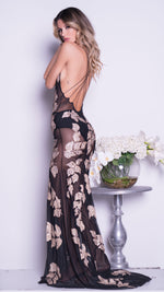 LASMA GOWN IN BLACK WITH GOLD