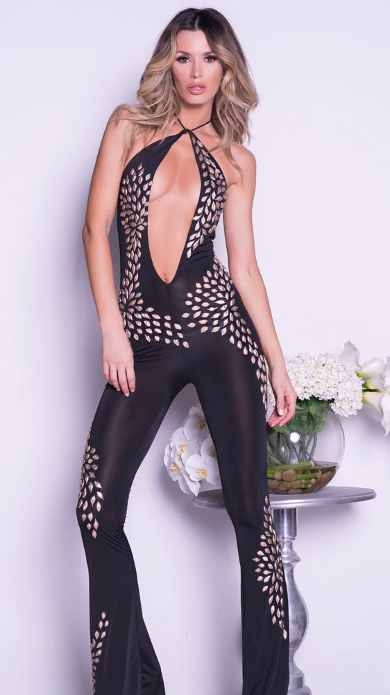 CITALE JUMPSUIT IN BLACK WITH GOLD