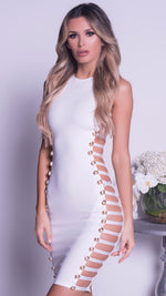 MIAMI BODYCON DRESS IN WHITE WITH GOLD HARDWARE