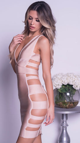 KELSIE BANDAGE DRESS IN NUDE