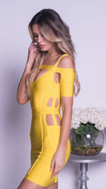 ALEXINE BANDAGE DRESS IN YELLOW