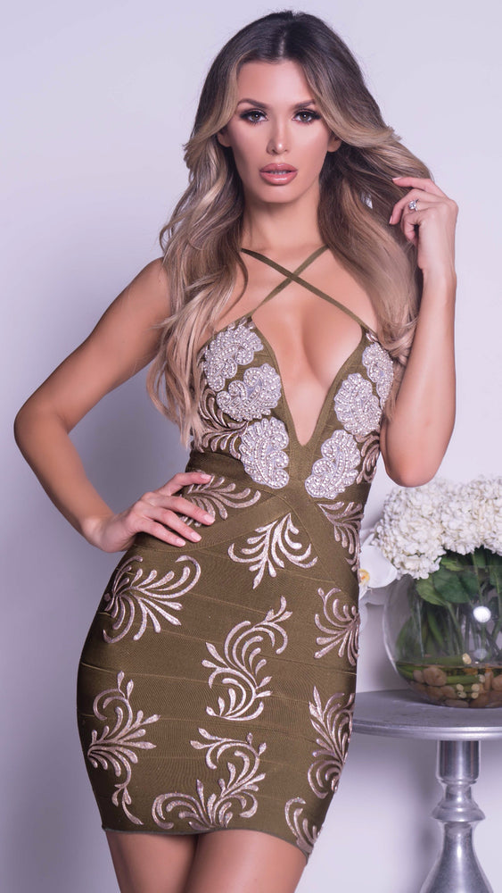 FALL PAINTED BANDAGE DRESS WITH CRYSTALS - MORE COLORS