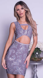 KARONA PAINTED BANDAGE DRESS IN GREY WITH CRYSTALS