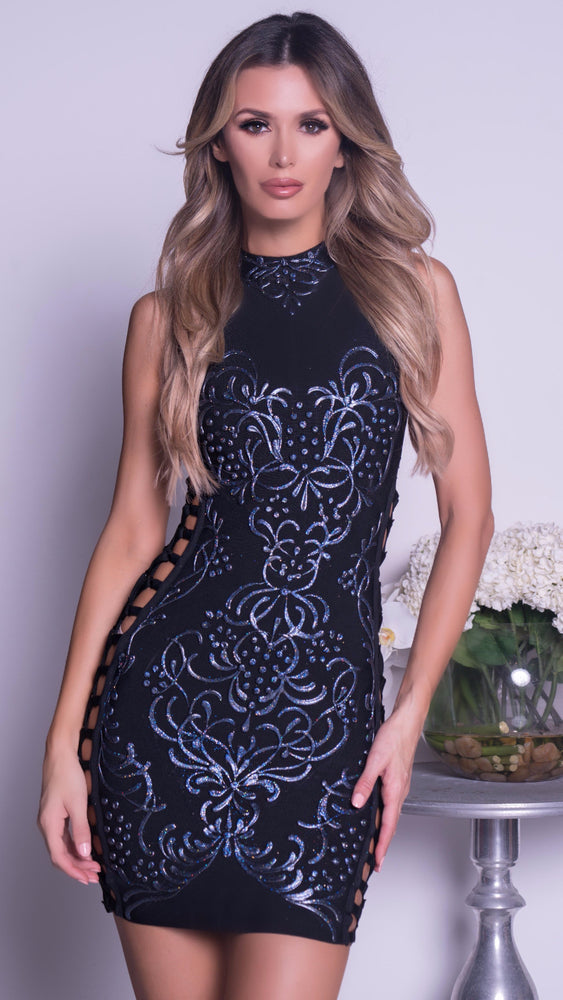 CORIA PAINTED BANDAGE DRESS IN BLACK WITH NAVY