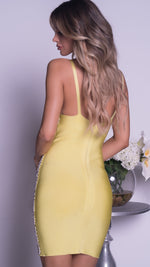 GADO PAINTED BANDAGE DRESS IN LIME